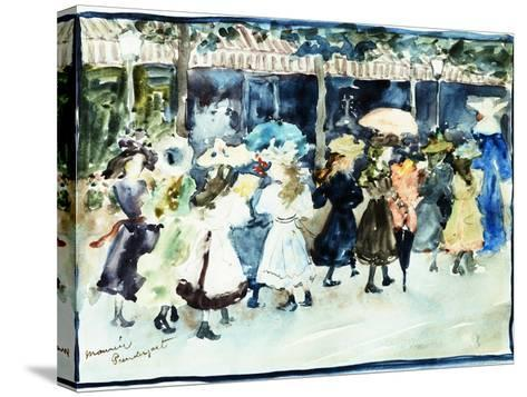 Watercolor of Girls Walking Along the Boardwalk by Maurice Brazil Prendergast-Geoffrey Clements-Stretched Canvas Print