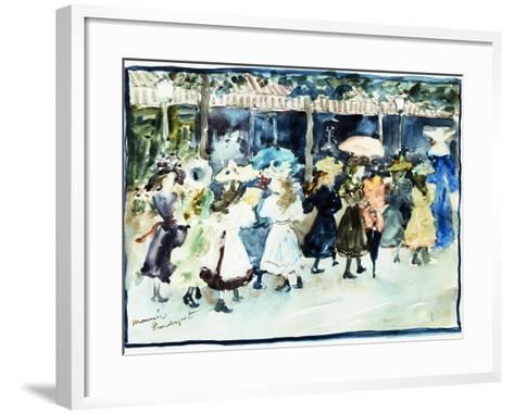 Watercolor of Girls Walking Along the Boardwalk by Maurice Brazil Prendergast-Geoffrey Clements-Framed Art Print