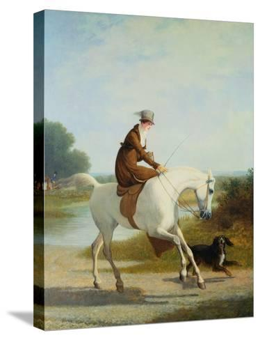 Miss Cazenove on a Gray Hunter-Jacques Laurent Agasse-Stretched Canvas Print