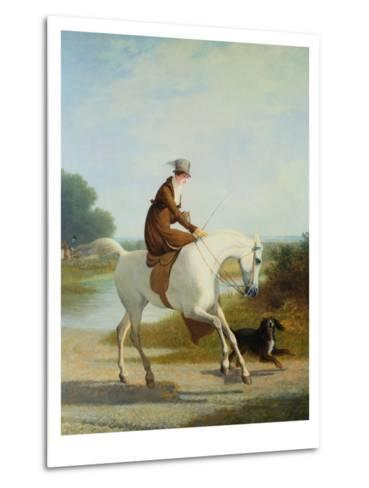Miss Cazenove on a Gray Hunter-Jacques Laurent Agasse-Metal Print