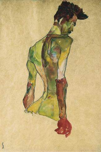 Male Nude in Profile Facing Right-Egon Schiele-Stretched Canvas Print