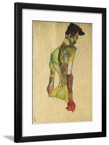 Male Nude in Profile Facing Right-Egon Schiele-Framed Art Print