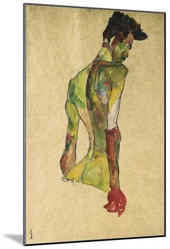 Male Nude in Profile Facing Right-Egon Schiele-Mounted Giclee Print