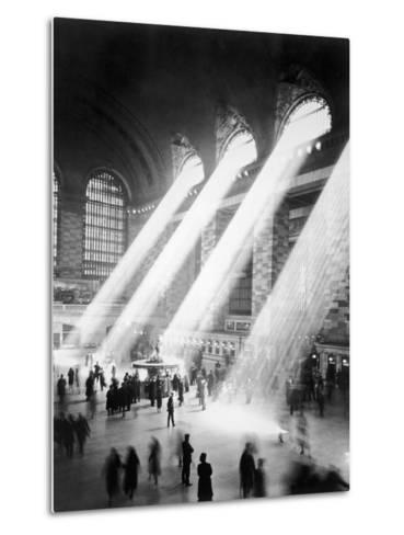 Sunbeams in Grand Central Station--Metal Print
