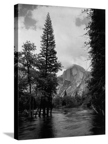 Half Dome Over Merced River--Stretched Canvas Print
