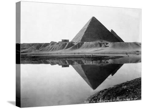 Pyramid of Cheops Reflected in Nile River--Stretched Canvas Print