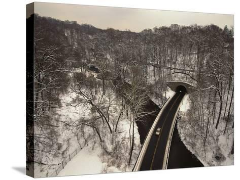 Highway Crossing a Creek-Richard Nowitz-Stretched Canvas Print