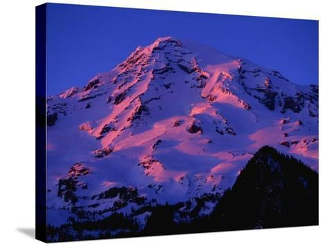 Sunset Alpenglow on Mount Rainier-Paul Souders-Stretched Canvas Print