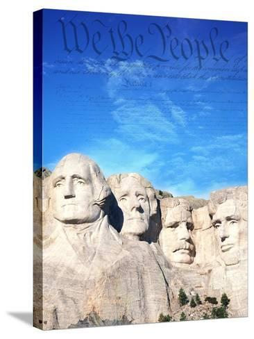 Preamble to US Constitution Above Mount Rushmore-Joseph Sohm-Stretched Canvas Print