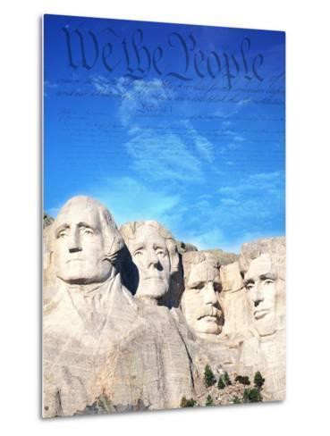 Preamble to US Constitution Above Mount Rushmore-Joseph Sohm-Metal Print
