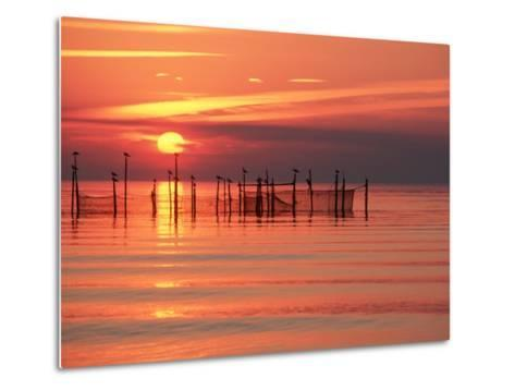 Silhouetted Fishing Net at Sunset-Lowell Georgia-Metal Print