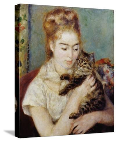 Woman with a Cat-Pierre-Auguste Renoir-Stretched Canvas Print