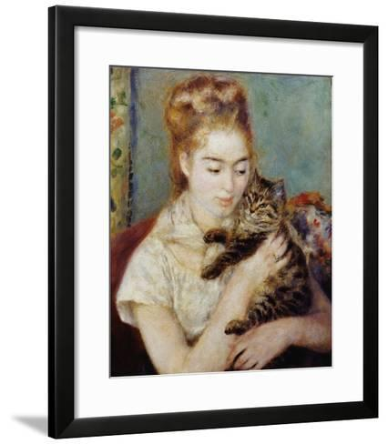 Woman with a Cat-Pierre-Auguste Renoir-Framed Art Print