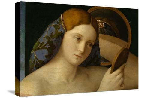 Detail of Young Woman with a Mirror-Giovanni Bellini-Stretched Canvas Print