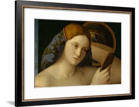 Detail of Young Woman with a Mirror-Giovanni Bellini-Framed Art Print