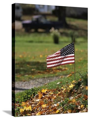 Small American Flag Posted in Yard-Bob Rowan-Stretched Canvas Print