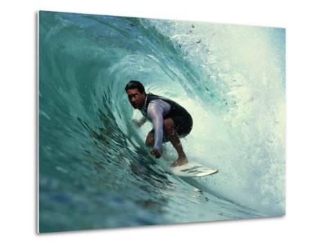 Professional Surfer Riding a Wave-Rick Doyle-Metal Print