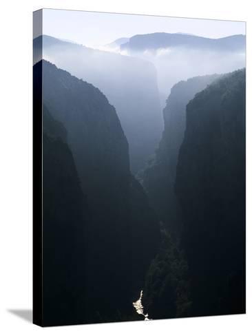 Verdon Canyon Through the Mist-Christophe Boisvieux-Stretched Canvas Print