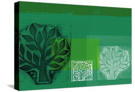 Woodblock Collage of Trees--Stretched Canvas Print