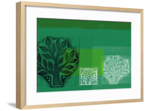 Woodblock Collage of Trees--Framed Art Print
