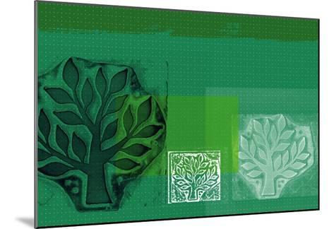 Woodblock Collage of Trees--Mounted Giclee Print