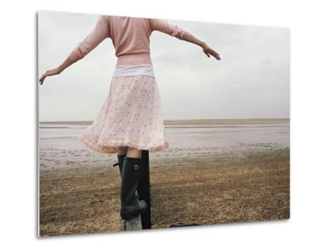 Woman Balancing on a Breakwater--Metal Print