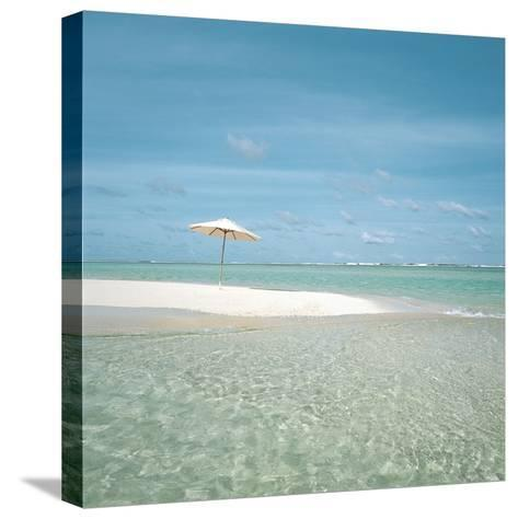 Surf and Sandy Beach--Stretched Canvas Print
