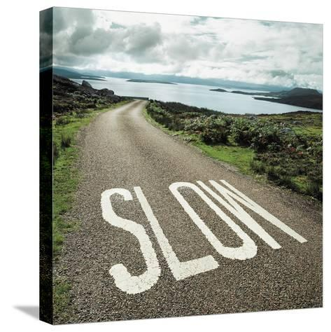 Road leading to the ocean with 'slow' painted on it--Stretched Canvas Print