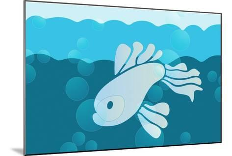 Blue fish--Mounted Giclee Print