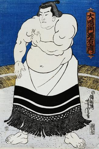 Japanese Print of a Sumo Wrestler Probably by Kunisada-Stefano Bianchetti-Stretched Canvas Print