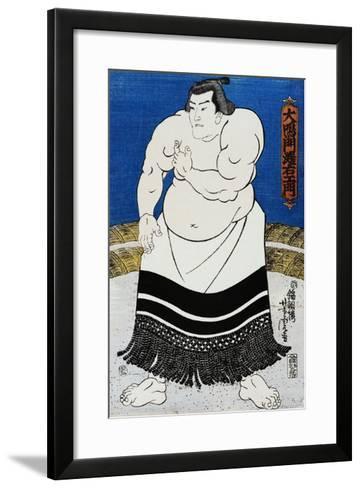 Japanese Print of a Sumo Wrestler Probably by Kunisada-Stefano Bianchetti-Framed Art Print