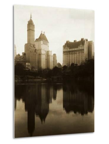 View of the Plaza Hotel, the Savoy Hotel and the Sherry-Netherland Hotel Reflected in the Water--Metal Print