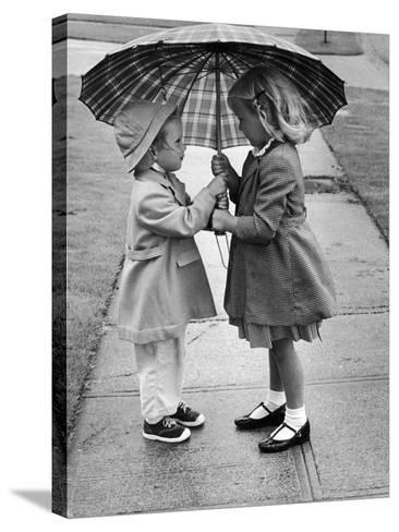 Girls Sharing an Umbrella-Josef Scaylea-Stretched Canvas Print