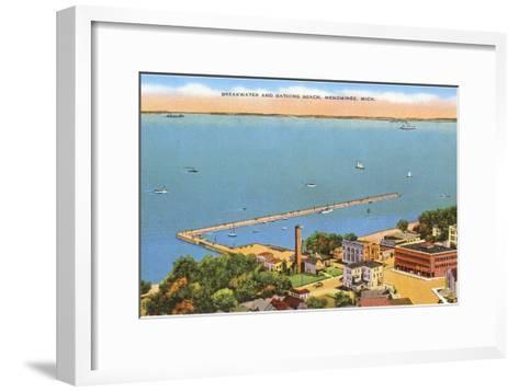 Breakwater, Menominee, Michigan--Framed Art Print