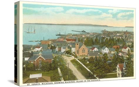 Overview of St. Ignace, Michigan--Stretched Canvas Print