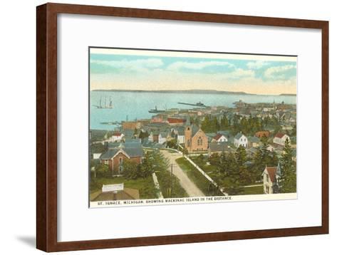 Overview of St. Ignace, Michigan--Framed Art Print