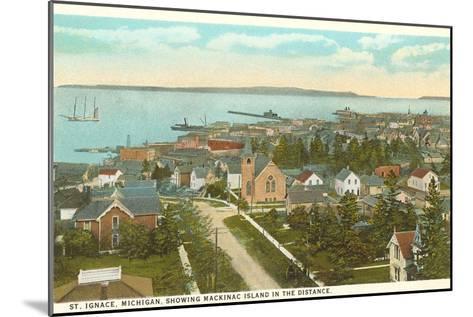 Overview of St. Ignace, Michigan--Mounted Art Print
