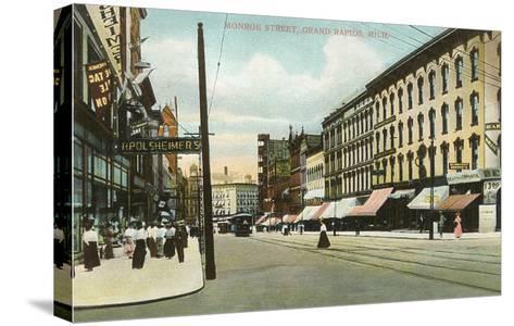 Monroe Street, Grand Rapids, Michigan--Stretched Canvas Print