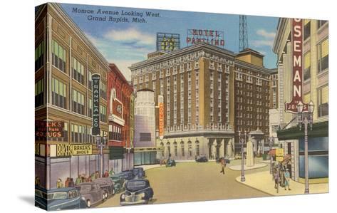 Monroe Avenue, Grand Rapids, Michigan--Stretched Canvas Print