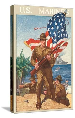 US Marines, On the Beach--Stretched Canvas Print