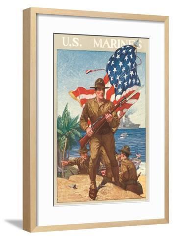 US Marines, On the Beach--Framed Art Print