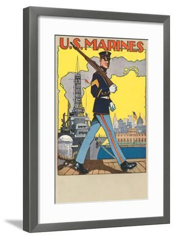 US Marines, Patrolling Dock--Framed Art Print