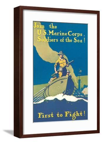 Marine Recruitment Poster, First to Fight--Framed Art Print