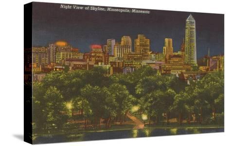 Night, Minneapolis, Minnesota--Stretched Canvas Print