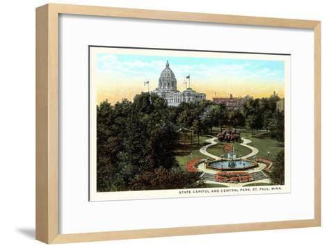 State Capitol and Park, St. Paul, Minnesota--Framed Art Print