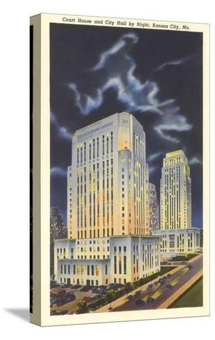 Night, Courthouse and City Hall, Kansas City, Missouri--Stretched Canvas Print