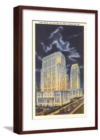 Night, Courthouse and City Hall, Kansas City, Missouri--Framed Art Print