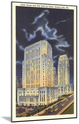 Night, Courthouse and City Hall, Kansas City, Missouri--Mounted Art Print