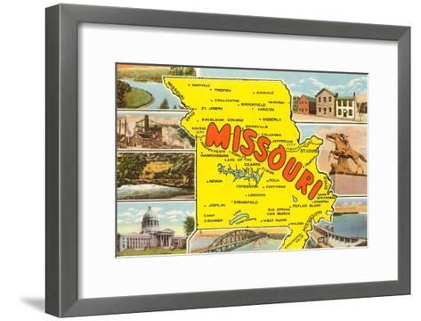 Map of Missouri--Framed Art Print