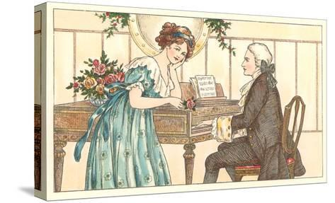 Romance at the Clavier--Stretched Canvas Print